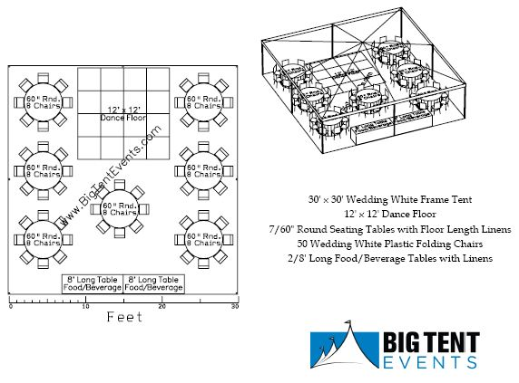Reception seating 50 guest big tent events for Wedding tent layout design