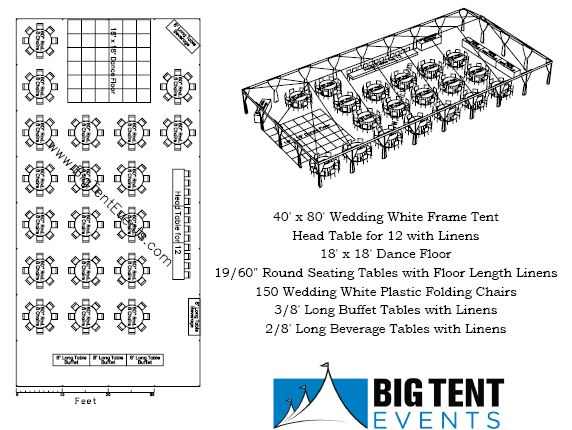 Reception seating 150 guest big tent events for Wedding tent layout design