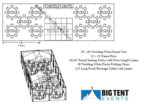 20×60 Wedding White Frame Tent  sc 1 st  Big Tent Events & Reception Seating 80 Guest | Big Tent Events
